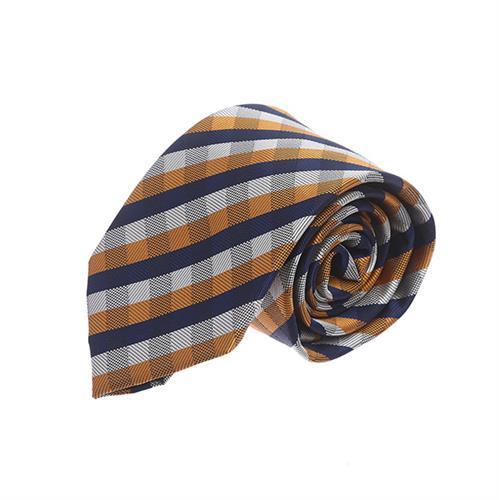 עניבה משובצת כחול כתום