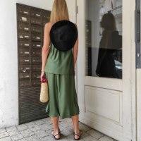 חצאית סאטן משי ג'ני - זית