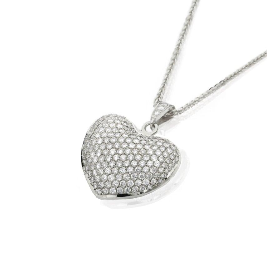 שרשרת ותליון לב משובץ יהלומים
