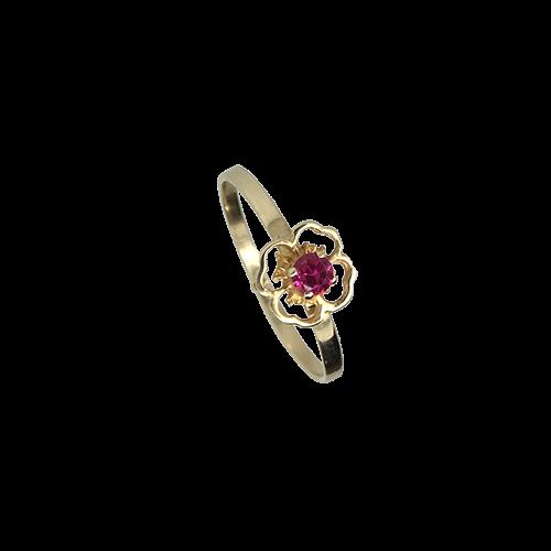 טבעת ילדות זהב צהוב 14K אבן חן בורדו OP04130020402