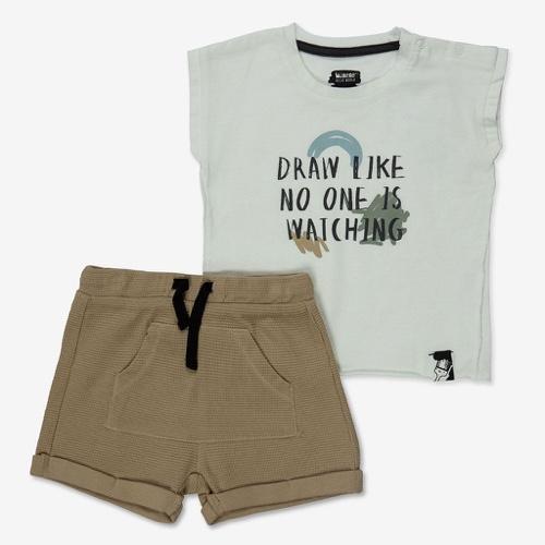 סט גופיה ומכנסים קצרים לבן מידות 3-24 חודשים