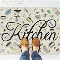 שטיח פי וי סי למטבח אפור רטרו מודרני| שטיח למטבח |שטיח פי וי סי | שטיח PVC | שטיחי פי וי סי מעוצבים