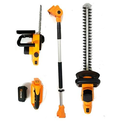 קומבי נטען 20V/4AH משולב 5 כלים במוצר 1  - חרמש, מגזמת, מסור, מגזמת גובה, מסור גובה HOTECHE