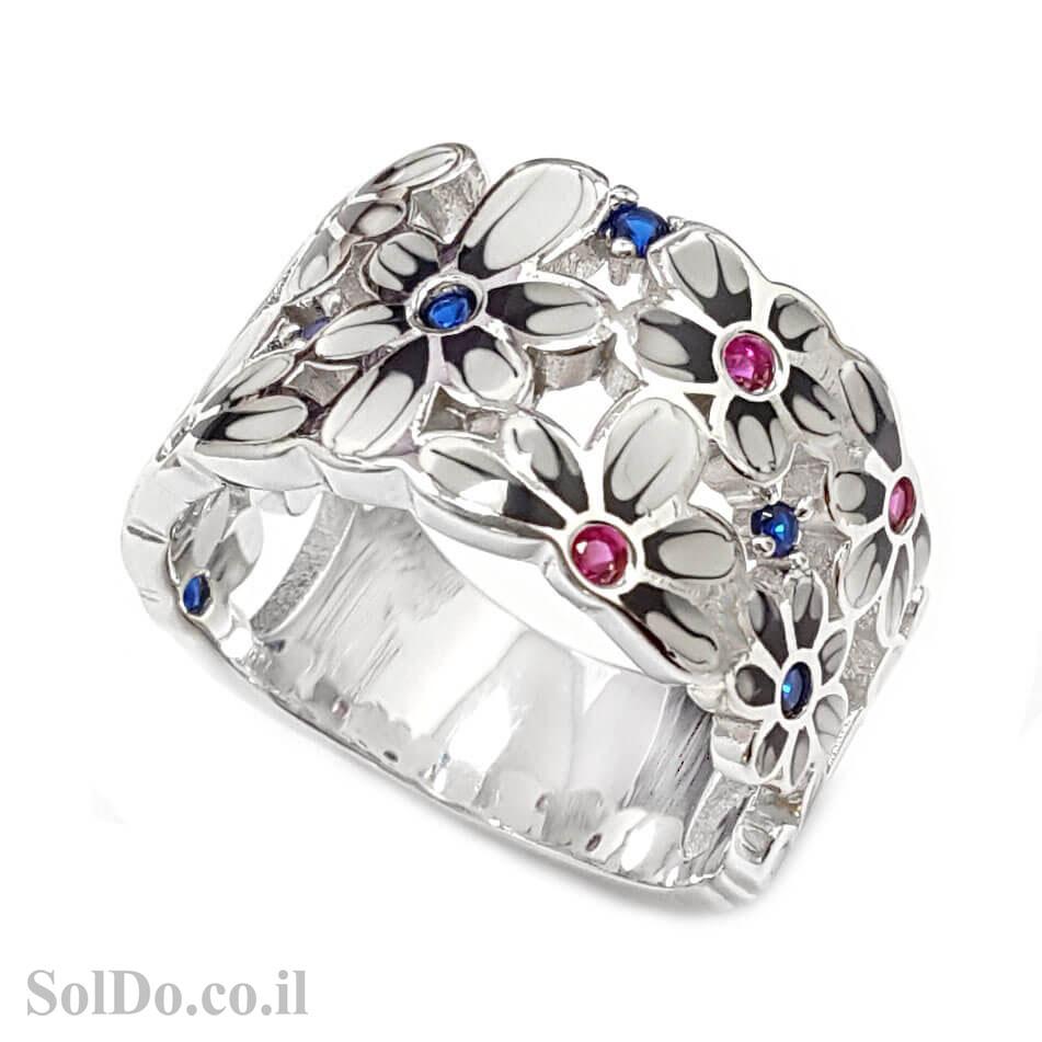 טבעת מכסף משובצת אבני זרקון צבעוניות ושילוב אמייל RG8702