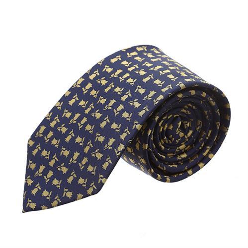 עניבה כחולה עם שושנים צהובים