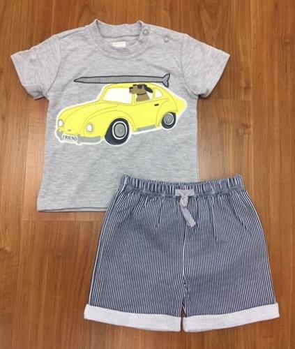 חליפה קצרה הדפס אוטו צהוב אפור מלאנג'
