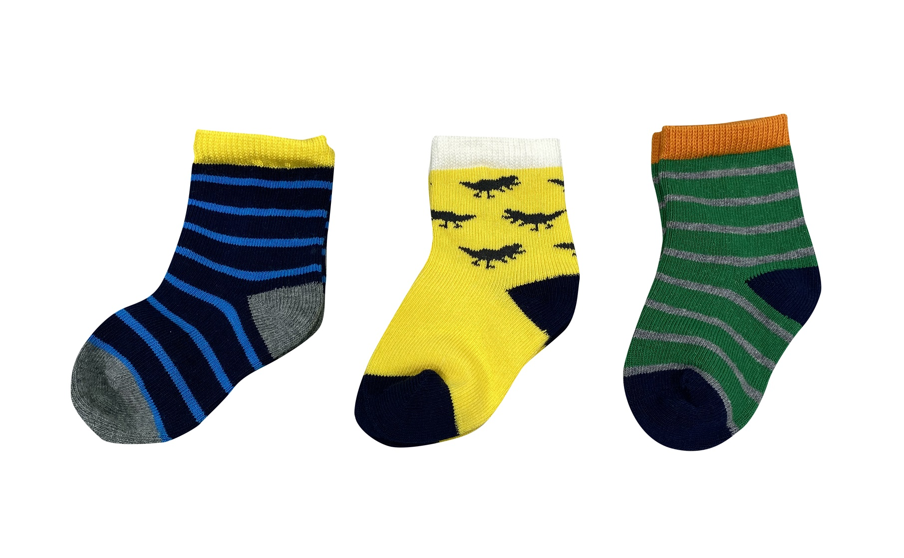 סט שלישיית גרביים פסים דינוזאור צהוב