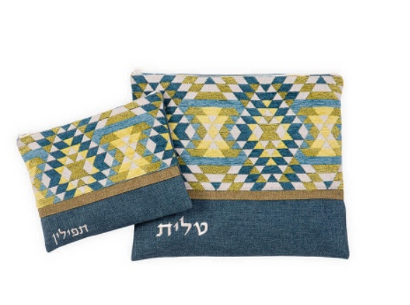כיסוי לטלית ותפילין בעיצוב מגן דוד בגווני ירוק כחול