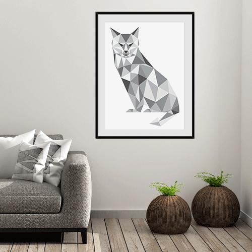 הדפס חתול גיאומטרי