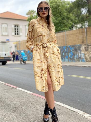 שמלה כפתורים שילוב חגורה תואמת