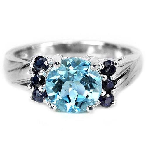 טבעת כסף משובצת טופז כחול ואבני ספיר כחולות RG8351 | תכשיטי כסף 925 | טבעות כסף