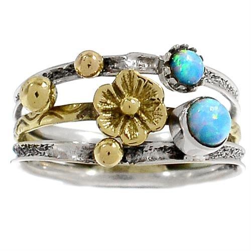 טבעת כסף מעוצבת משובצת אבני אופאל  RG5757 | תכשיטי כסף 925 | טבעות כסף