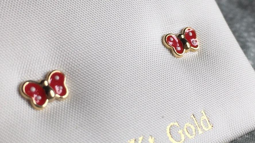 עגילי זהב פרפר אדום