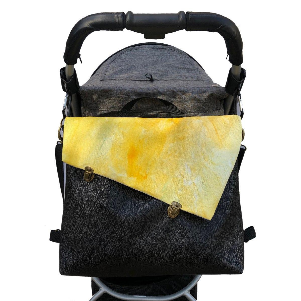 תיק עגלה, לאם ולילד, תיק החתלה בצבע שחור וצהוב