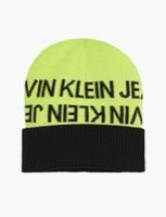 CK כובע סריג ניאון לוגו שחור
