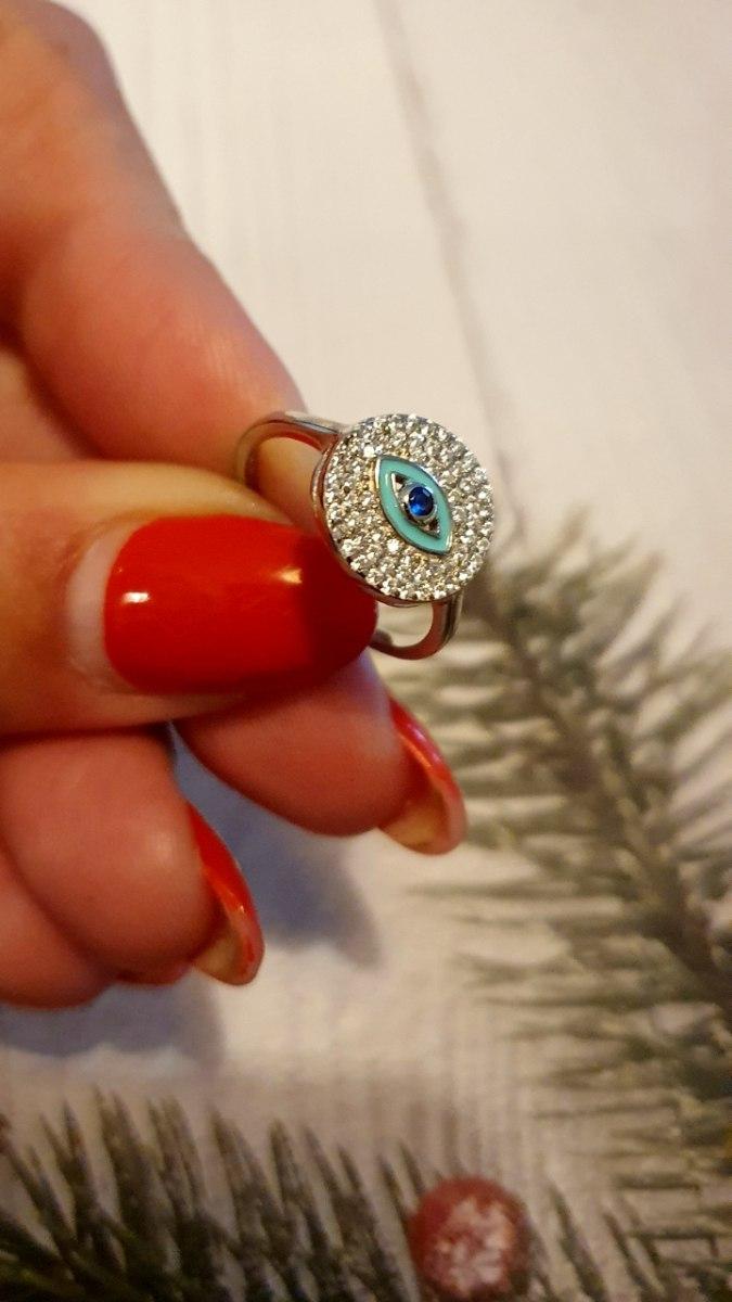 טבעת כסף עין משובצת