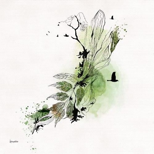 ציור אבסטרקטי ירוק ושחור