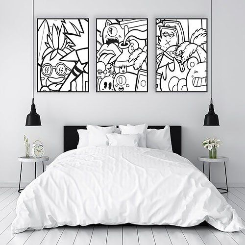 סט תמונות שחור לבן להלבשת הבית של האמן כפיר תג'ר