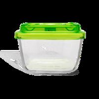 כלי אחסון מזון מרובע מזכוכית גודל 19X19X9, נפח 1.5 ליטר