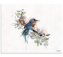 ציור של ציפור כחולה צבעי מים