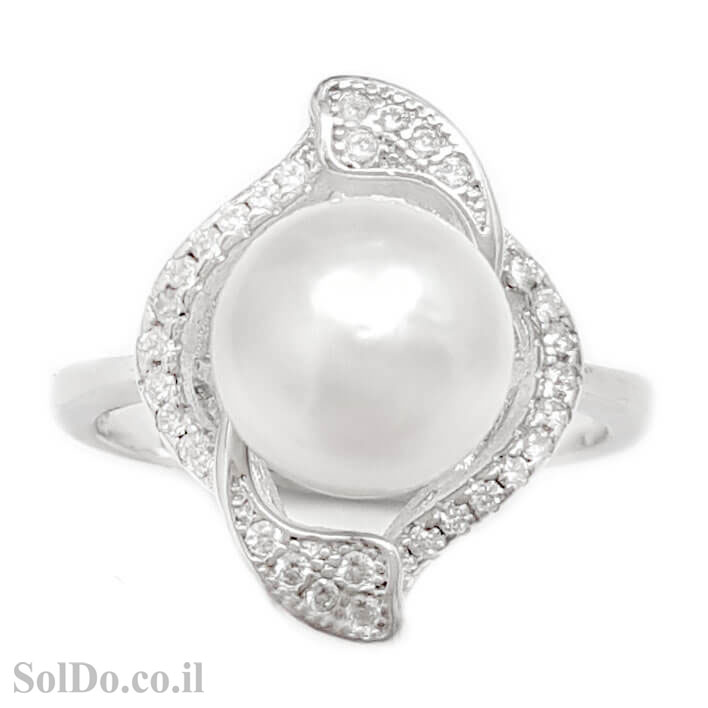 טבעת מכסף משובצת פנינה לבנה וזרקונים RG6063 | תכשיטי כסף 925 | טבעות עם פנינה