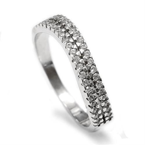 טבעת כסף משובצת 2 שורות אבני זרקון RG5565 | תכשיטי כסף | טבעות כסף