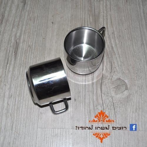 זוג כוסות נירוסטה שכבה כפולה למשקה חם עם ידית