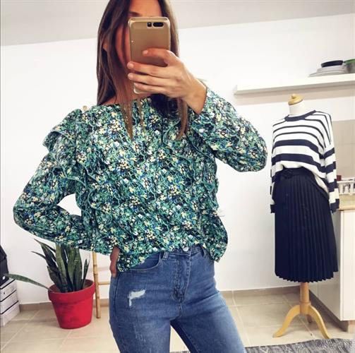 חולצת פרח וולאן - ירוקה