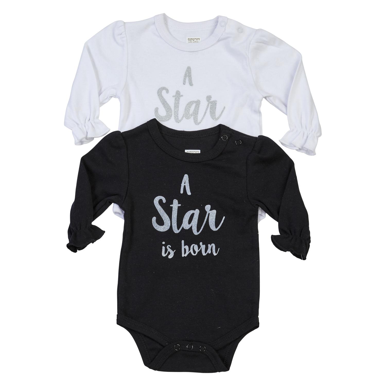 סט 2 בגדי גוף A Star is born שחור לבן