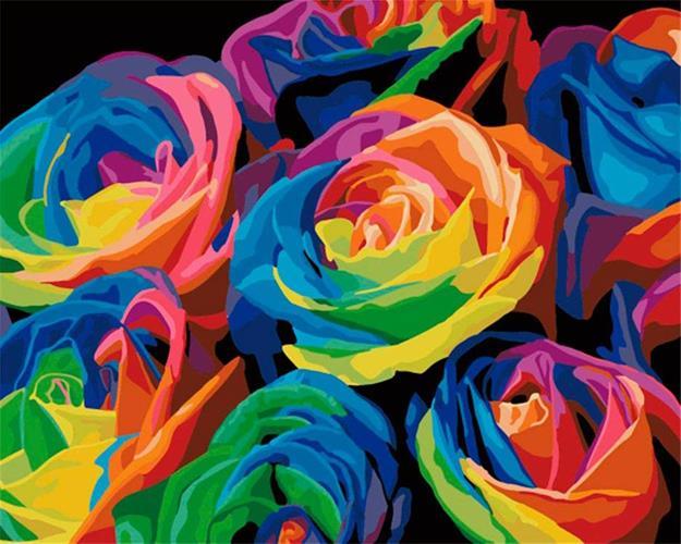 צביעה לפי מספרים - ורדים ססגונים