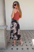 חצאית מעטפת שחורה עלים