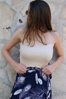 חצאית מעטפת נוצות כחולה