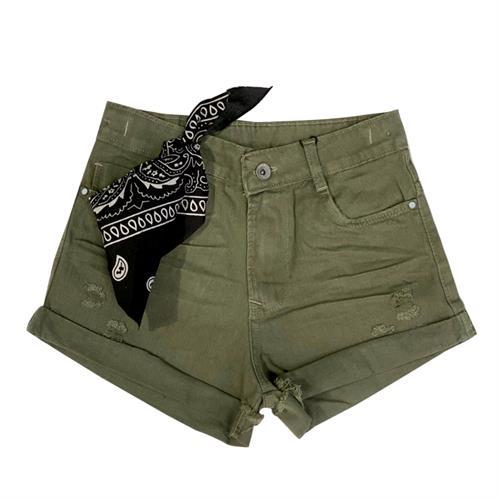 שורט ג׳ינס בנדנה ירוק זית - N-JOY