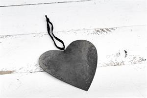 לב שטוח ממתכת - כסוף מושחר (גודל L)