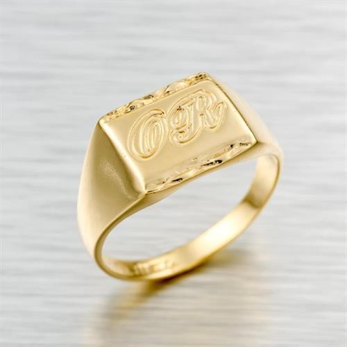 טבעת שם בעיצוב אישי גולדפילד 18 קראט איכותית  בעיצוב מרובע יפיפיה