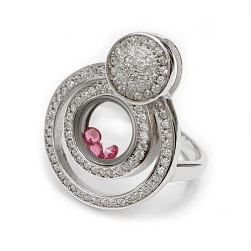 טבעת כסף עיגולים עם קריסטלים וורודים משובצת אבני זרקון לבנות RG3730 | תכשיטי כסף | טבעות כסף
