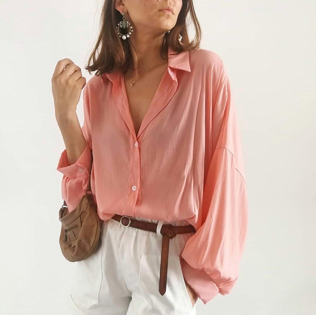 חולצת פולי פריזאית - ורודה