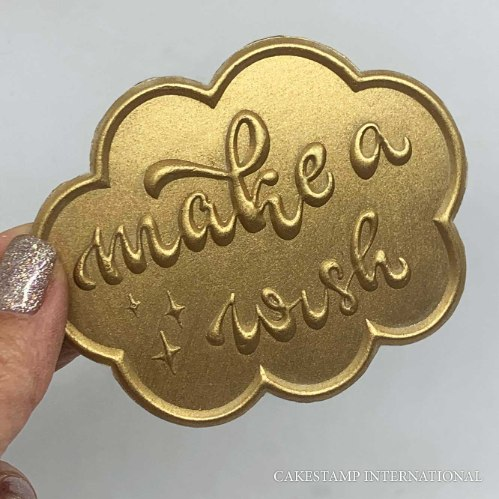 MAKE A WISH IN A CLOUD SHAPE Cake Topper | Flexible Embosser Polymer Mold | Chocolate Mold