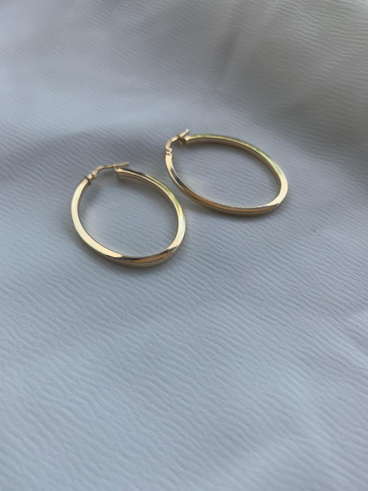 עגילי זהב 14K אובלים