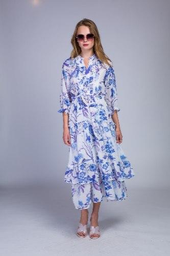 שמלת ערב קומות שיפון מודפס