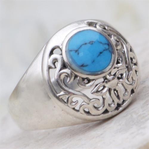 טבעת כסף משובצת טורקיז כחול RG6830