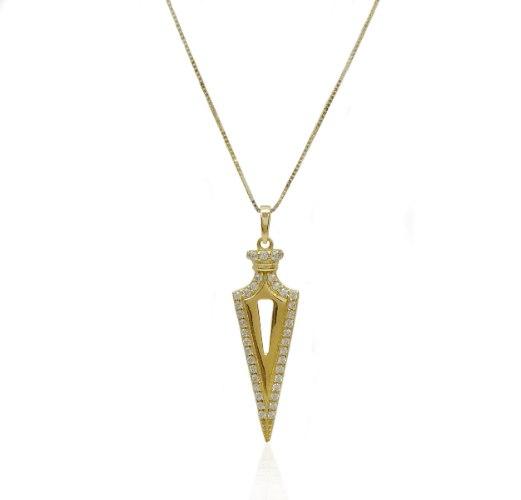 שרשרת זהב צהוב לגבר תליון משובץ זרקונים | תליון כידון זרקונים