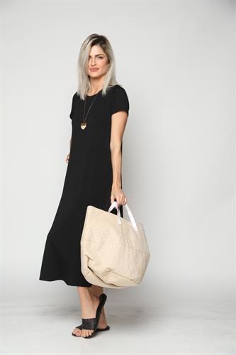 שמלת נשים שרוול קצר מקסי ארוך