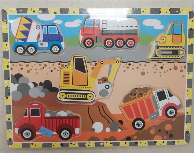 פאזל עץ לילדים משאיות