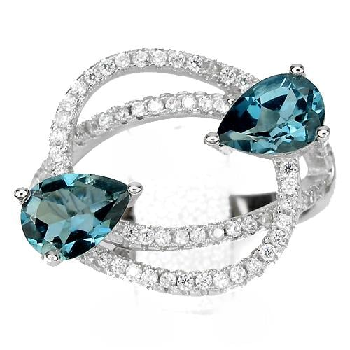 טבעת כסף משובצת טופז כחול וזרקונים