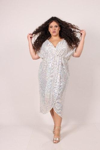 שמלת מיה לבנה פייטים זהב