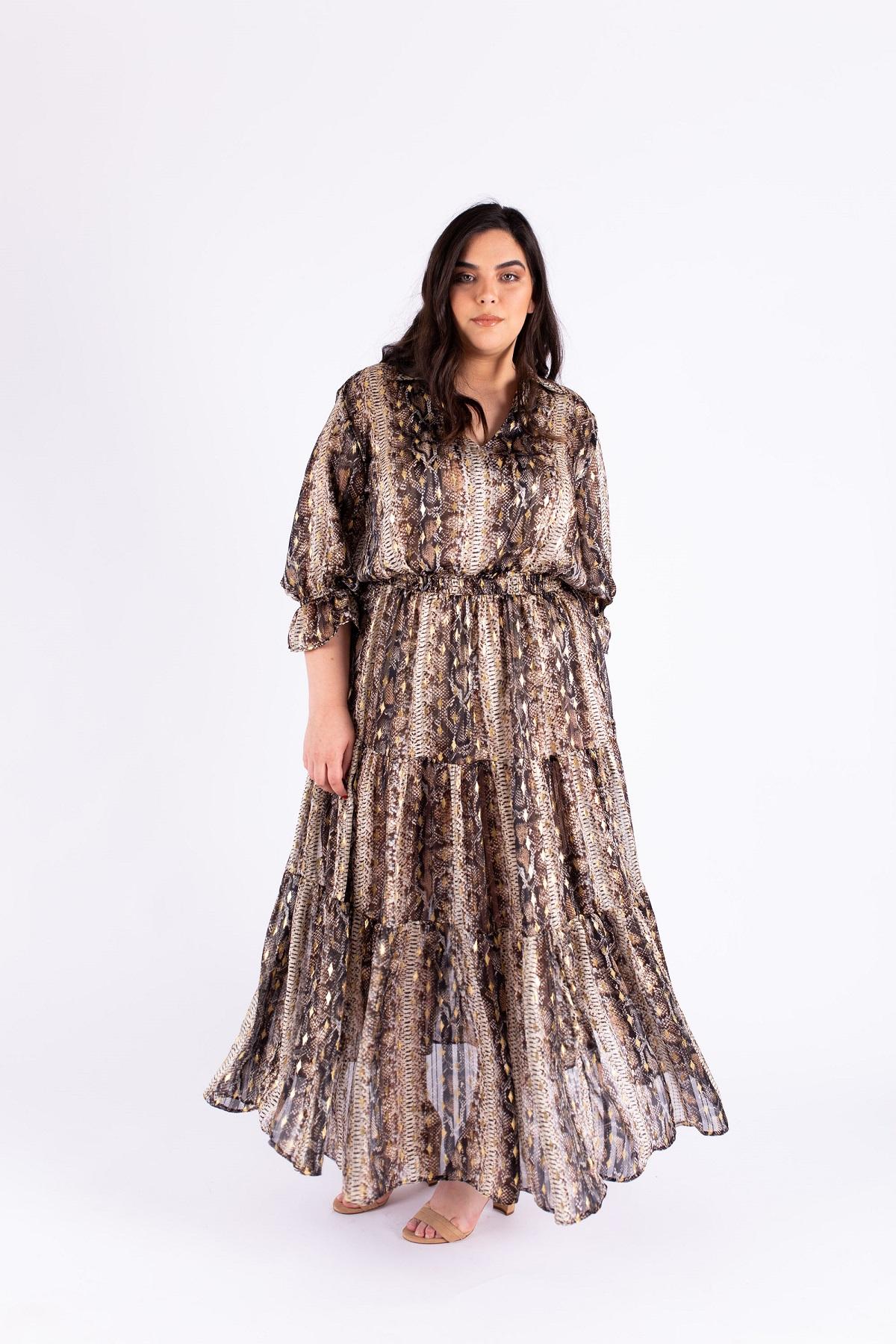 שמלת אווה מנוחשת זהב