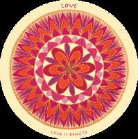 """מדבקת """"מנדלת האהבה"""" - מנדלה מקורית בעבודת יד מודפסת על מדבקת ויניל"""