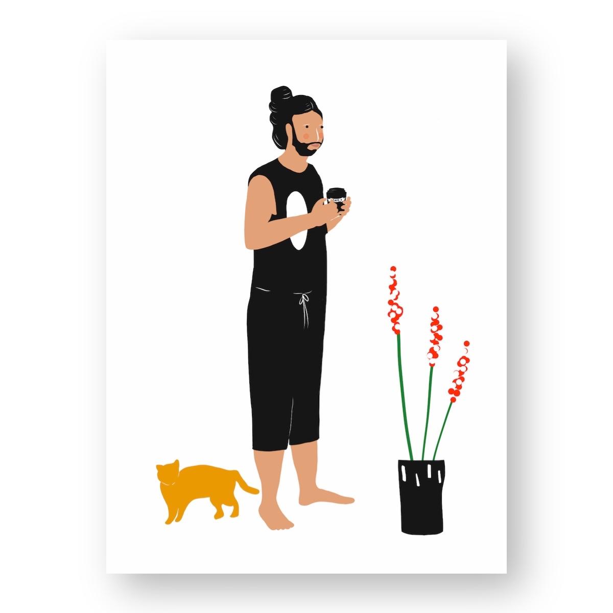 """גבר מחזיק כוס קפה ׳לקחת׳ - מתוך """"החיים יפים"""", הסדרה האופטימית"""