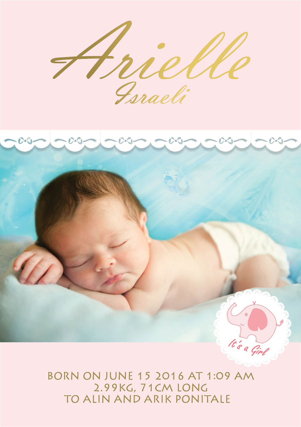 תעודת לידה- ורוד בייבי